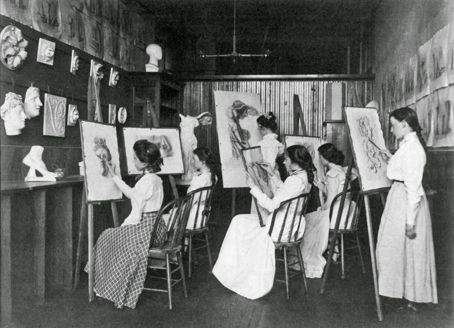 14a girls in art class, drawing at easels, Eastern High School, Washington, DC, 1899